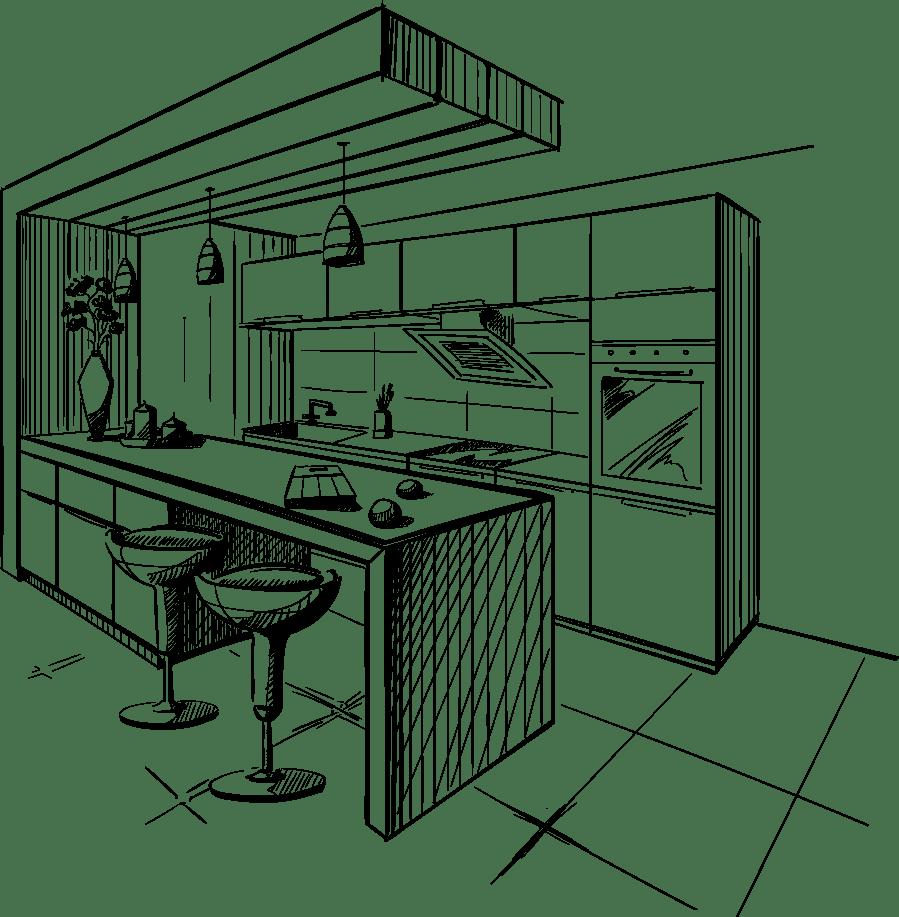 Gezeichnete Küche